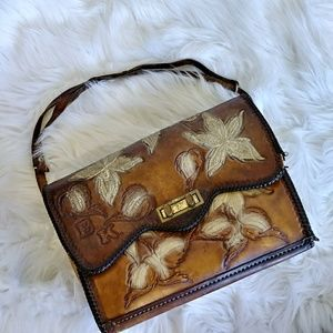 Handbags - Vintage Leather Floral Brown Handbag